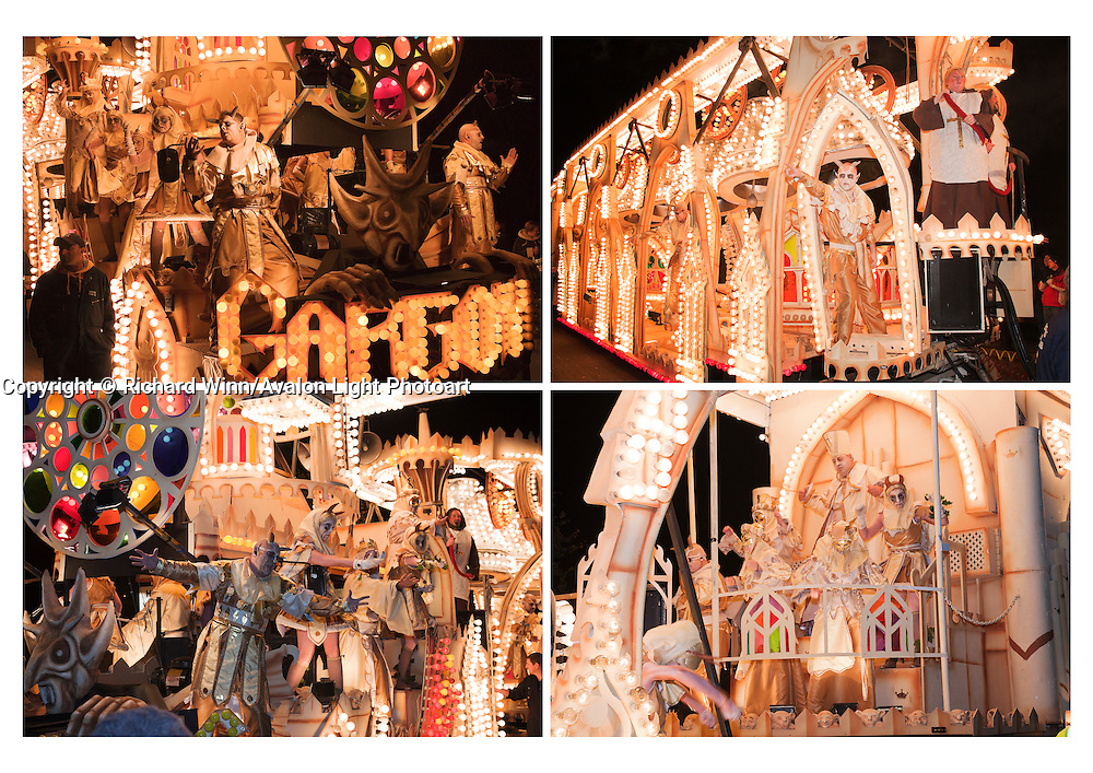 "A selection of four photographs of ""Gargoyles"", the entry in the 2010 Somerset Carnival circuit by British Flag Carnival Club. Grouped together for printing. Can be printed with or without a caption on either A4 or A3 heavweight fine art paper. Please indicate on your order whether or not you would like a caption."