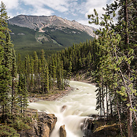 Sunwapta Falls, located along the Icefields Parkway in Jasper National Park, Canada