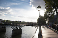 France. Paris. 1st district. the pont des Arts - art bridge - on the Seine river   / le pont des arts sur la seine paris
