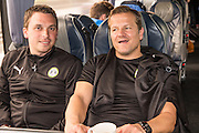 Mark Cooper and Scott Bartlett on the team bus for Forest Green Rovers Football Club Familiarisation visit to Wembley Stadium, London, England on 10 May 2016. Photo by Shane Healey.
