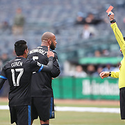 NEW YORK, NEW YORK - April 12: Victor Bernardez #5 of San Jose Earthquakes is sent off by referee Jorge Gonzalez after a foul on Thomas McNamara #15 of New York City FC during the New York City FC Vs San Jose Earthquakes regular season MLS game at Yankee Stadium on April 1, 2017 in New York City. (Photo by Tim Clayton/Corbis via Getty Images)