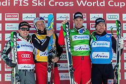 07.03.2014, Carmenna Extrempark, Arosa, SUI, FIS Weltcup Ski Cross, Arosa, im Bild Christopher Delbosco (CAN) Tomas Kraus (CZE) Alex Fiva (SUI) Didrik Bastian Juell (NOR) // during the FIS Ski Cross World Cup Carmenna Extrempark in Arosa, Switzerland on 2014/03/07. EXPA Pictures © 2014, PhotoCredit: EXPA/ Freshfocus/ Claudia Minder<br /> <br /> *****ATTENTION - for AUT, SLO, CRO, SRB, BIH, MAZ only*****