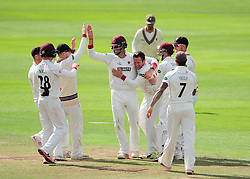 Roelof Van Der Merwe of Somerset celebrates the wicket of Keaton Jennings with Marcus Trescothick and the team.    - Mandatory by-line: Alex Davidson/JMP - 04/08/2016 - CRICKET - The Cooper Associates County Ground - Taunton, United Kingdom - Somerset v Durham - County Championship