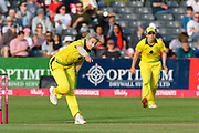 Delissa Kimmince of Australia bowling during the 3rd Vitality International T20 match between England Women Cricket and Australia Women at the Bristol County Ground, Bristol, United Kingdom on 31 July 2019.