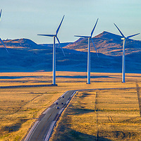 Wind farm area near Medicine Bow in Wyoming where was once greater sage-grouse habitat. Wyoming will become the largest wind farm producer in the country by 2020.