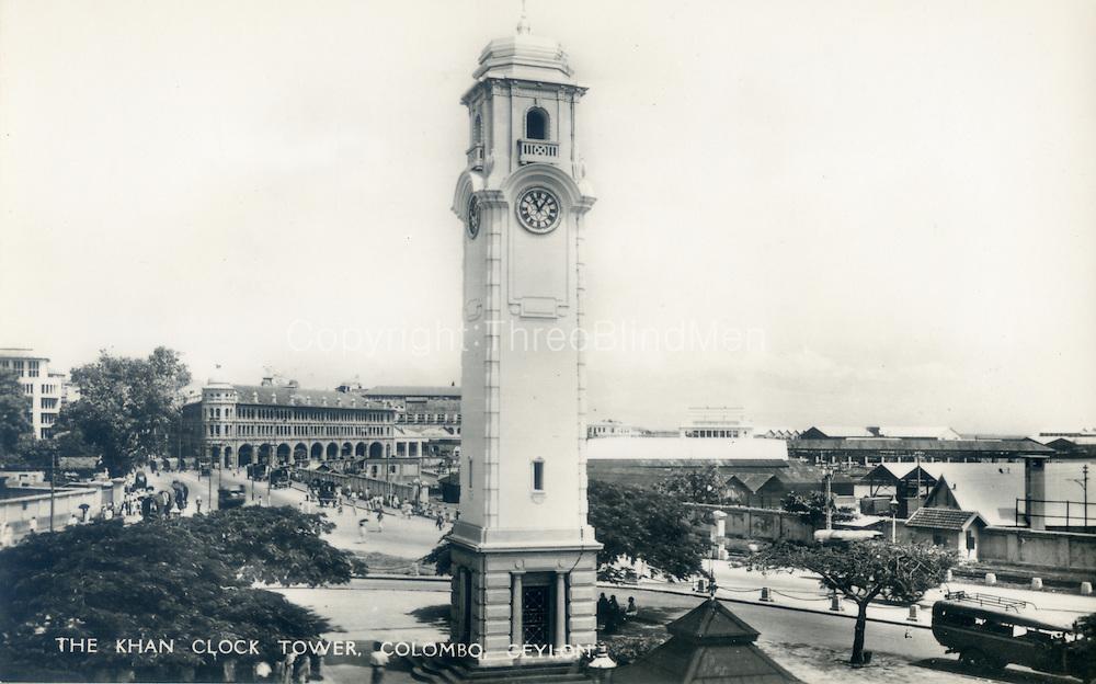 Old Ceylon postcard. Khan Clock Tower.