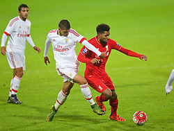 CHESTER, ENGLAND - Friday, October 23, 2015: Liverpool's Jerome Sinclair in action against Benfica during the Premier League International Cup match at the Deva Stadium. (Pic by David Rawcliffe/Propaganda)