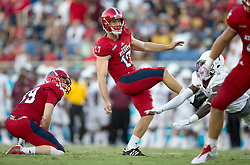 September 16, 2017 - Boca Raton, Florida, U.S. - Florida Atlantic Owls place kicker Greg Joseph (17) kicks an extra point against Bethune Cookman Wildcats in Boca Raton, Florida on September 16, 2017. (Credit Image: © Allen Eyestone/The Palm Beach Post via ZUMA Wire)