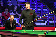 Maike Kesseler watches on as Ryan Day takes his shot during the Ladbrokes World Grand Prix at Preston Guildhall, Preston, United Kingdom on 12 February 2017. Photo by Pete Burns.