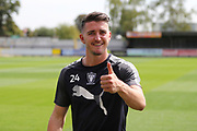 AFC Wimbledon goalkeeper Joe McDonnell (24) with a thumbs up during the EFL Sky Bet League 1 match between AFC Wimbledon and Doncaster Rovers at the Cherry Red Records Stadium, Kingston, England on 26 August 2017. Photo by Matthew Redman.