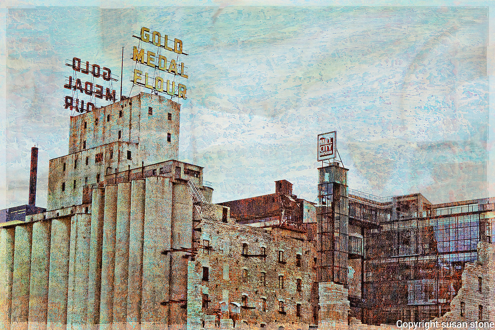 The Gold Medal Flour sign and buildings in a  textured blending of photography and paint.