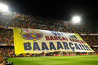 F.C. Barcelona´s supporters holding a banner during the Spanish Copa del Rey `King´s Cup´ final soccer match between Real Madrid and F.C. Barcelona at Mestalla stadium, in Valencia, Spain. April 16, 2014. (ALTERPHOTOS/Victor Blanco)
