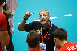 01-09-2012 VOLLEYBAL: WORLD LEAGUE 2013 QUALIFICATION NETHERLANDS - PORTUGAL : ROTTERDAM<br /> Flavio Gulinelli, coach of Portugal during a time-out