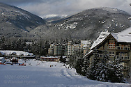 Blackcomb Mountain's final ski run leads to Blackcomb Daylodge; Whistler, British Columbia, Canada.