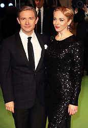 Martin Freeman and wife arriving at the 65th Royal Film Performance for the premiere of The Hobbit, in London, Wednesday, 12th December 2012.  Photo by: Stephen Lock / i-Images