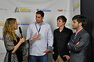 Bellmore, New York, United States. July 10, 2015. Second from left, PETER FRIZALONE, Director of short films including BLOODLINES, MOMMY, MAKE ME LAUGH, and, at extreme right, MARC RIOU, Director of BLACK DAWN, are among those interviewed at the Official Opening Night Reception of LIIFE, Long Island International Film Expo, in the Filmmakers Lounge. LIIFE events, including screenings nextdoor at Bellmore Movies, panels, and ceremonies, span from July 8 through July 16.
