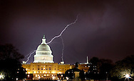 A fast moving lightning storm moves through Washington D.C. April 26, 2009. The electrical storm lasted about 1 hour. The Capitol was illuminated by a natural light show. Copyright 2009 Armando Solares/Solares Photography, Inc. All Rights Reserved. www.solaresphotography.com