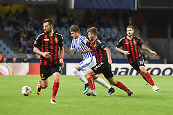 November 2, 2017 - San Sebastian, Gipuzkoa - Basque Country, Spain - Adnan Januzaj of Real Sociedad duels for the ball with Hovhannes Hambartsumyan, Darko Velkoski and Juan Felipe of FK Vardarduring the UEFA Europa League Group L football match between Real Sociedad and FK Vardar at the Anoeta Stadium, on 2 November 2017 in San Sebastian, Spain  (Credit Image: © Jose Ignacio Unanue/NurPhoto via ZUMA Press)