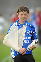 Jack Duignan from Raharney Westmeath had to sit out Sunday after fracturing his elbow on Saturday at Pearse Stadium in the Féile na nGael 2011. Photo:Andrew Downes.