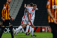 Dean Lewington of Milton Keynes Dons (2nd left) celebrates scoring his first goal of the game to make it 1-2 against Bradford City during the Sky Bet League 1 match at stadium:mk, Milton Keynes<br /> Picture by David Horn/Focus Images Ltd +44 7545 970036<br /> 16/09/2014