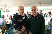 Dean Hugh Sherman poses for a portrait with Don Johnson at the College of Business tailgating party during homecoming weekend on Saturday, October 13, 2012..Photo by Chris Franz