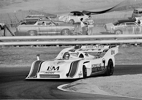 George Follmer, Porsche, in hairpin at 1972 Laguna Seca Can-Am; Photo by Pete Lyons 1972/ © 204 Pete Lyons / petelyons.com
