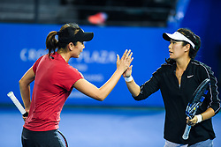 SHENZHEN, Jan. 5, 2019  Peng Shuai (L)Yang Zhaoxuan of China celebrate during the women's doubles final match against Duan Yingying of China and Renata Voracova of Czech Repoblic at the WTA Shenzhen Open tennis tournament in Shenzhen, south China's Guangdong Province, Jan. 5, 2019. (Credit Image: © Xinhua via ZUMA Wire)