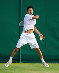 LONDON, ENGLAND - Saturday, June 28, 2014: Ryotaro Matsumura (JPN) during the Boys' Singles 1st Round match on day six of the Wimbledon Lawn Tennis Championships at the All England Lawn Tennis and Croquet Club. (Pic by David Rawcliffe/Propaganda)