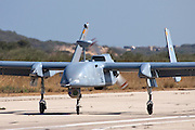 Israeli Air force (IAF) IAI Heron (IAI Shoval) an Unmanned Aerial Vehicle (UAV) at takeoff developed by the Malat division of Israel Aerospace Industries.