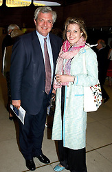 MISS JOSIE FLIGHT and STEPHEN O'BRIEN MP at a concert performance of Death in Venice by Benjamin Britten in aid of The Venice in Peril Fund held at the Queen Elizabeth Hall, London on 30th June 2004.  Before the concert a cheque for 1 Million Pounds was presented by Pizza Express to the The Venice in Peril Fund.