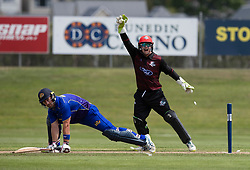 Canterbury's Tom Latham, right, appeals unsuccessfully for the wicket of Otago Volts' Neil Broom in the Ford Trophy one-day domestic cricket match at the University of Otago Oval, Dunedin, New Zealand, Saturday, January 27, 2018. Credit:SNPA / Adam Binns ** NO ARCHIVING**