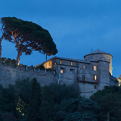 The Castello Brown on a hilltop overlooking Portofino, Italy.