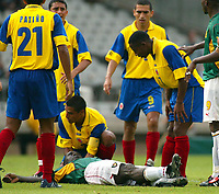 LYON FRANCE 26/06/03 FIFA CONFEDERATIONS CUP<br />MARC VIVIEN FOE AFTER COLLAPSING DURING <br />KAMERUN V COLUMBIA MATCH. HE DIED LATER. <br />Photo Masahide Tomokoshi/FOTOSPORTS INTERNATIONAL/DIGITALSPORT