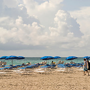 Lounge chairs lined up on Miami Beach, Florida in the morning