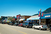 Cleveland Ave, downtown Squamish BC on a sunny summer day.  Squamish BC, Canada.