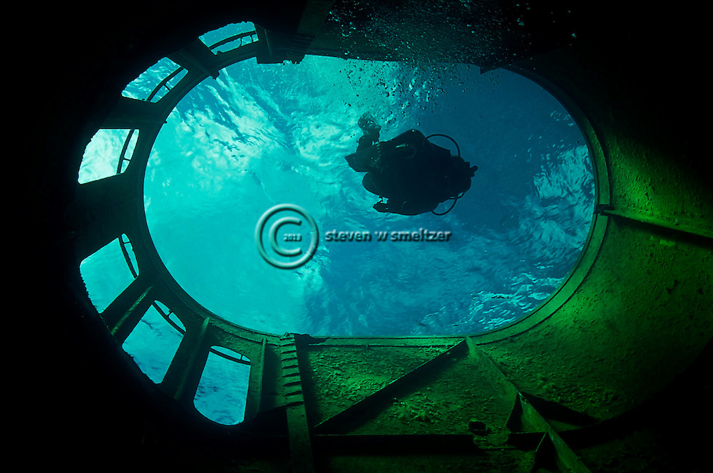 Descent, main funnel, USS Kittiwake