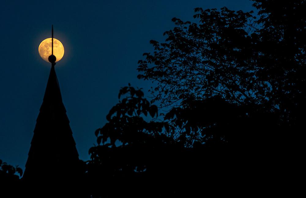 Full Moon Over Oella Church in Oella, Maryland.
