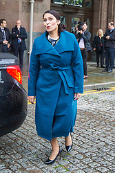 © Licensed to London News Pictures. 29/09/2019. Manchester, UK. Home Secretary Priti Patel leaves the Midland hotel on the first day of the Conservative Party Conference at Manchester Central in Manchester. Photo credit: Andrew McCaren/LNP