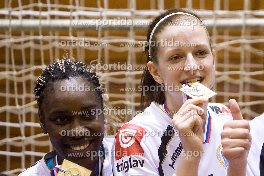 Ana Miriam Do Espirito Ferreira De Sousa of Krim and Ana Gros at last 10th Round handball match of Slovenian Women National Championships between RK Krim Mercator and RK Olimpija, on May 15, 2010, in Galjevica, Ljubljana, Slovenia. Olimpija defeated Krim 39-36, but Krim became Slovenian National Champion. (Photo by Vid Ponikvar / Sportida)