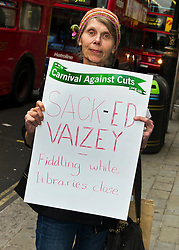 ©under licence to London News Pictures. 18/05/11. London, UK  . Campaigners from Lewisham, Camden & Swindon assemble to protest against the cuts at Department of Culture, Media and Sport, and then delivered a petition to 10 Downing Street. .Picture shows Shirley Burnham from Swindon. Please see special instructions for usage rates. Photo credit should read TONY NANDI/LNP