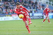 Birmingham City  forward, on loan from Burnley, Lukas Jutkiewicz (15) with a shot during the EFL Sky Bet Championship match between Huddersfield Town and Birmingham City at the John Smiths Stadium, Huddersfield, England on 5 November 2016. Photo by Simon Davies.