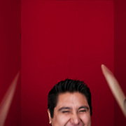 Portrait of Ruben Ordiano, drummer for Rumbankete, a Los Angeles, California-based salsa orchestra, taken in Woodland Hills, Calif., on April 3, 2010, for the band's promotional use and album cover.  Photo by Jen Klewitz.  (Jen Klewitz © 2010)