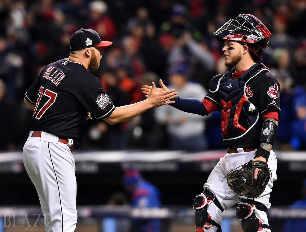 Oct 25, 2016; Cleveland, OH, USA; Cleveland Indians relief pitcher Cody Allen (37) celebrates with catcher Roberto Perez (right) after defeating the Chicago Cubs in game one of the 2016 World Series at Progressive Field. Mandatory Credit: Ken Blaze-USA TODAY Sports