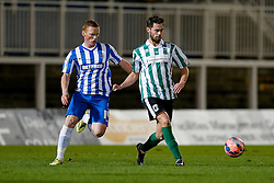 Matthew Wade of Blyth Spartans is challenged by Michael Woods of Hartlepool United - Photo mandatory by-line: Rogan Thomson/JMP - 07966 386802 - 05/12/2014 - SPORT - FOOTBALL - Hartlepool, England - Victoria Park - Hartlepool United v Blyth Spartans - FA Cup Second Round Proper.