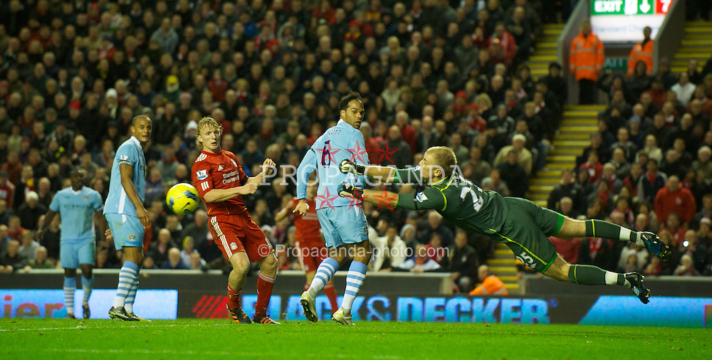 LIVERPOOL, ENGLAND - Sunday, November 27, 2011: Manchester City's goalkeeper Joe Hart makes a save during the Premiership match against Liverpool at Anfield. (Pic by David Rawcliffe/Propaganda)