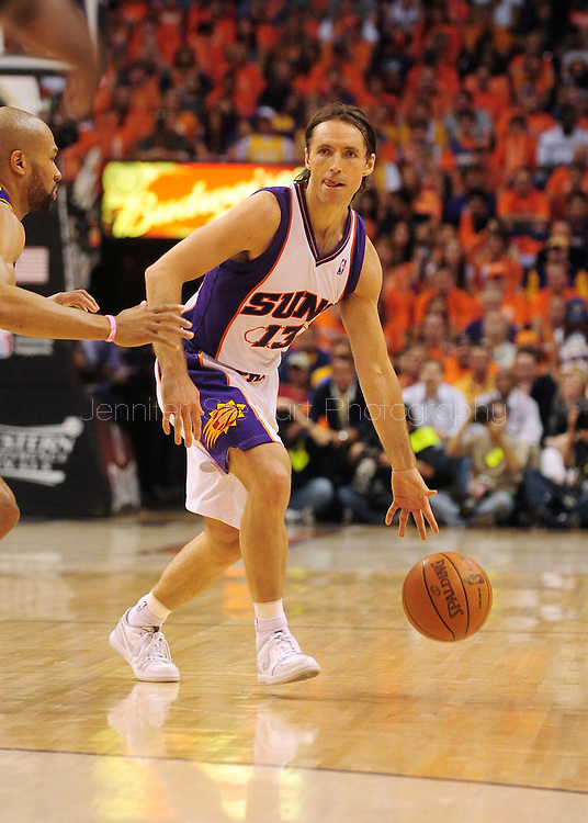 May 29, 2010; Phoenix, AZ, USA; Phoenix Suns guard Steve Nash (13) handles the ball against the Los Angeles Lakers during the first half in game six of the western conference finals in the 2010 NBA Playoffs at US Airways Center. The Lakers defeated the Suns 111-103. Mandatory Credit: Jennifer Stewart-US PRESSWIRE