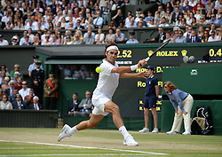 © Licensed to London News Pictures. 6th July 2014. London. UK. Roger Federer. Crowds and celebrities watch the The Men's Final between Roger Federer, SUI v Novak Djokovic, SER at the Wimbledon Tennis Championships 2014. Photo credit :  Mike King/LNP