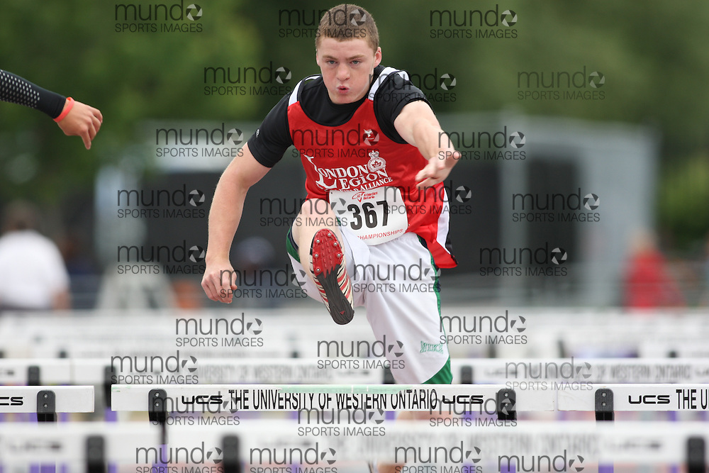 (London, Ontario---13/06/09)   Ryan McGladdery of London Legion T&F Alliance competes in the  sprint hurdles at the 2009 Athletics Ontario Junior Track and Field Championships. The meet was held in London, Ontario from June 13-14, 2009. Copyright photograph Sean Burges / Mundo Sport Images, 2009. www.mundosportimages.com / www.msievents.