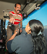 Houston ISD bus drivers participate in safety training exercises at the Northwest Transportation Facility, August 14, 2014.
