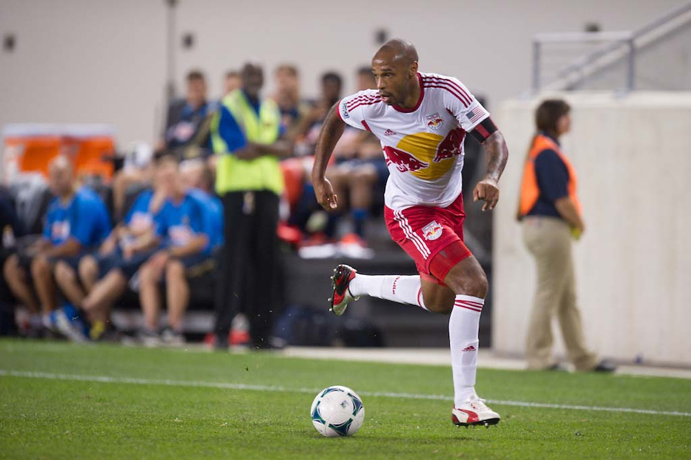 HARRISON, NJ - AUGUST 17:  Thierry Henry #14 of New York Red Bulls in action during  the game against the Philadelphia Union at Red Bulls Arena on August 17, 2013. (Photo By: Rob Tringali)